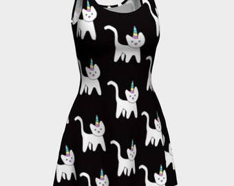 Caticorn Dress in Black • Kawaii Dress • Cute Dress • Kawaii Fashion • Unicorn Dress • Caticorn • Clothes