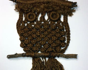 """1970's Jute Macramé Owl Wall Hanging Large Owl On Branches 36"""" Tall  18 1/2"""" Wide"""