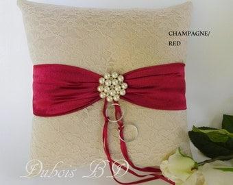 Wedding ring bearer pillow, Champagne ring bearer pillow,  lace ring pillow, Red ring pillow, Wedding ring pillow, Sash ring pillow