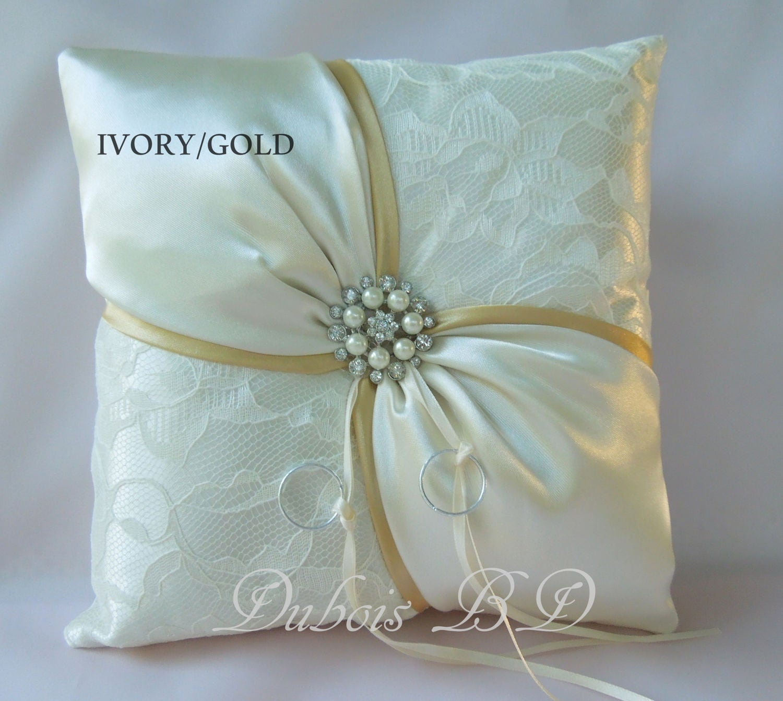Gold ring bearer pillow Wedding ring bearer pillow Ivory