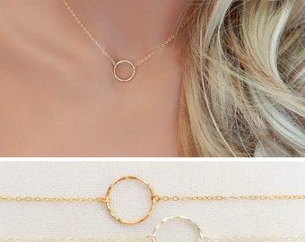 Circle Necklace, Infinity Necklace, Open Circle, Eternity, Minimal Necklace, Gold or Silver Hammered Karma Necklace, Girlfriend Gift [426]