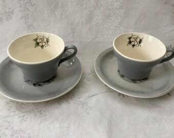 Vintage pale blue teacup with dogwood pattern