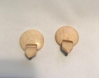 vintage carved ivory look post back earrings