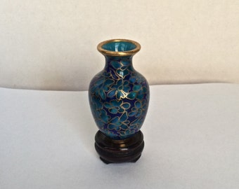 Vintage Miniature Chinese Cloisonne Vase With Stand - Blue Enamel - Brass Trim - Floral Pattern - Miniature Asian Vase