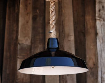 The Black Forge Pendant Light - Industrial Rope Lighting - Warehouse rustic Swag Ceiling Lamp - Metal Shade Hanging Light Fixture - edison b
