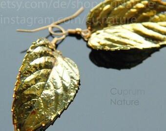 Earrings Mint copper > earrings Menthe real leaf nature botanic wedding bridal jewllery
