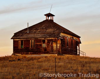 SCHOOL DAYS Abandoned 1900's Schoolhouse Country School Prairie Childhood Memories Wooden Ghost of the Past Digital Print it Your Way Art