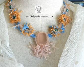 "Coral beadweaving necklace ""Atoll"""