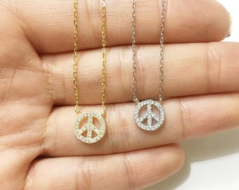Peace Sign Necklace, CZ Peace Symbol Necklace Sterling Silver (925), Hippie Peace Everyday Necklace, Gold and Silver Dainty Peace Necklace