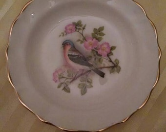 Fenton China Company, Bone China, Small Decorative Plate, Bird, Gold Trim