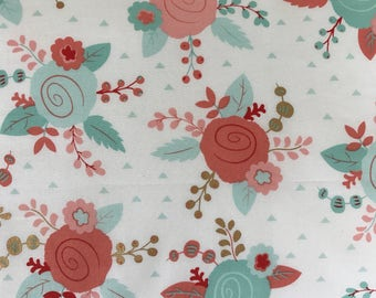 Mint, Coral and Blush Floral Fabric