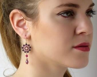 Purple earrings, Boho chic earrings, Purple drop earrings, Purple dangle earrings, Romantic earrings, Swarovski crystal beaded jewelry