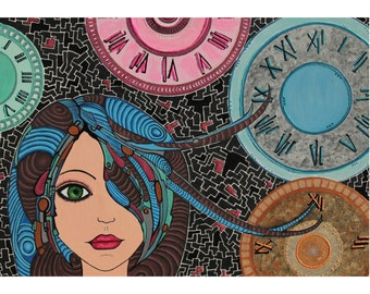 tempus  fugit: Mixed technique Acrylic colors on canvas  glow in the dark clock woman painting