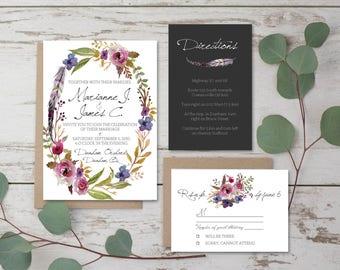 Printable Wedding Invitation Set   Invitation + RSVP Card + Insert Card   Flowers , feathers   bohemian wedding invitation