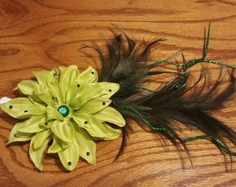Green flower feather fascinator hair clip