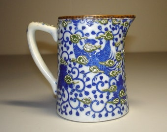 Antique Blue Phoenix Japan Pitcher Creamer Rare Find