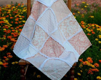 "Rag Quilt, Shabby Chic Baby Quilt, Stroller Quilt, 29"" x 29"", Peach and White, Baby Girl, Baby Shower Gift"