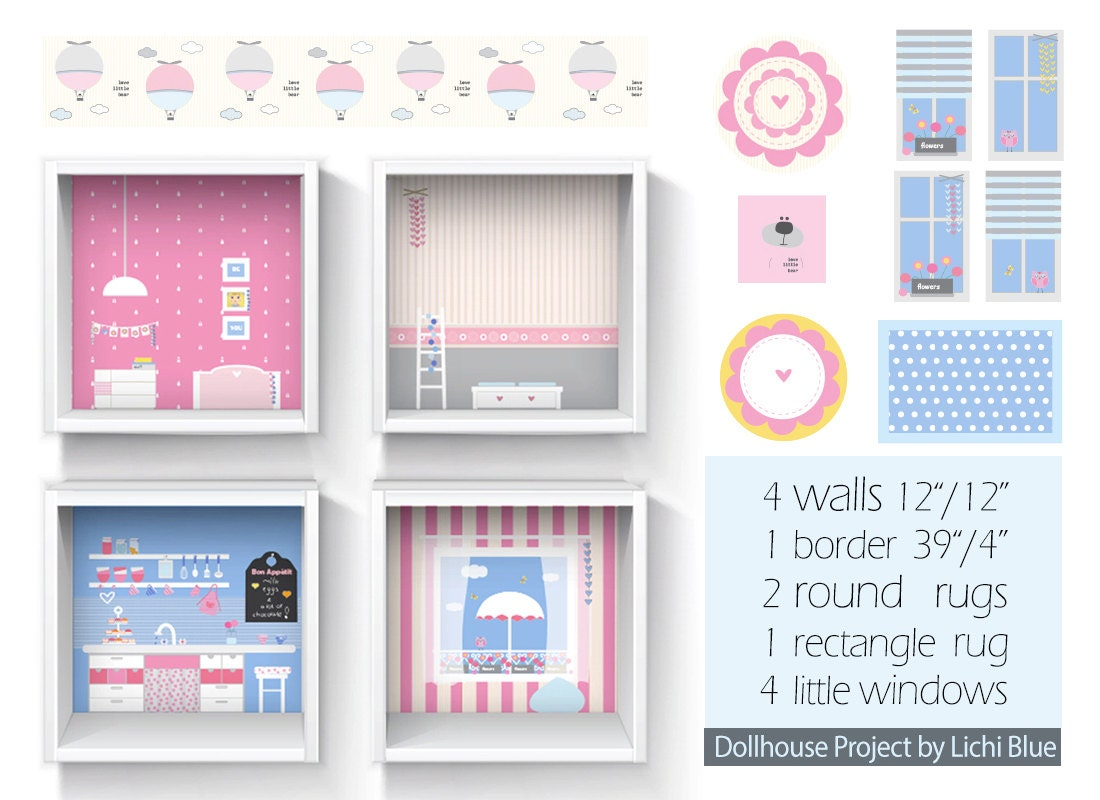 Dollhouse wallpaper diy dollhouse dollhouse wall decor for Dollhouse mural