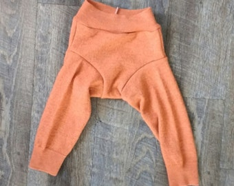 Upcycled Orange Wool Longies - Soaker - Shorties - Cloth Diaper Cover - Baby Toddler Pants - Medium M-  Shower Gift