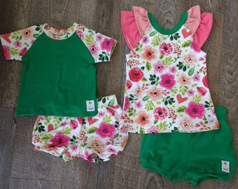 Spring/Summer Floral Vintage Painter Pink Rose Outfit 3M 6M 12M 18M 24M 2T 3T 4T 6 8 10 12 -baby girl shower - Bubble Shorts - Shirt - Tank