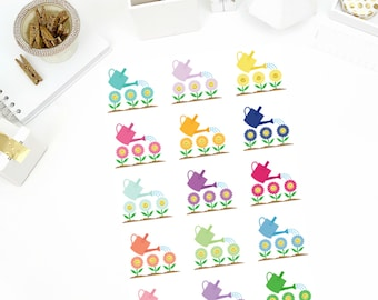 Watering Can Stickers! Perfect for your Erin Condren Life Planner, calendar, Paper Plum, Filofax!