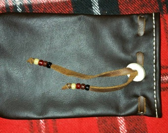 Hand sewn Oil Tanned Leather Bushcraft Gear Bag (Dark Brown) survival possibles pouch