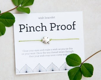 Pinch Proof Wish Bracelet, St Patricks Day, Irish Luck, four leaf clover, Silver Clover Bracelet, Clover String Bracelet, Irish Fun, Green