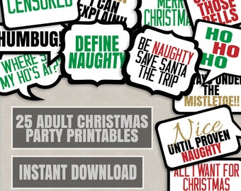 25 Adult Christmas Phrases Printable photo booth props, christmas adult party props, naughty christmas props, xmas party props photobooth