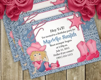 Cowgirl Birthday Party Invitation - 3 Different Hair Colors