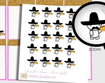 Emoti Taco Tuesday planner stickers.  Doodle planner Stickers Taco night Planner stickers