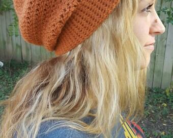 Orange Slouchy Beanie - Women's Hat - Crochet Hat - Winter Hat - Fall Accessories - Winter Accessories - Winter Fashion - Fall Fashion