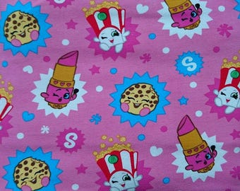 Stretch fabric, Shopkins, pink, fabric for girls