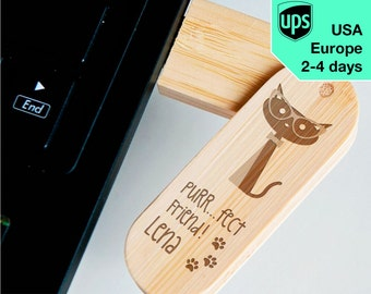 Purrrfect Friend - Personalised USB flash drive, Laser Engraved Pendrive