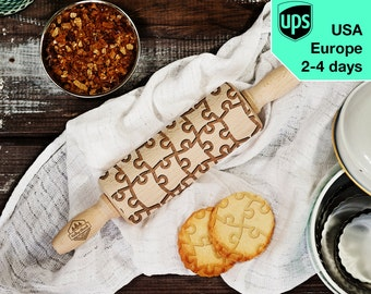 Puzzle - MINI laser engraved rolling pin