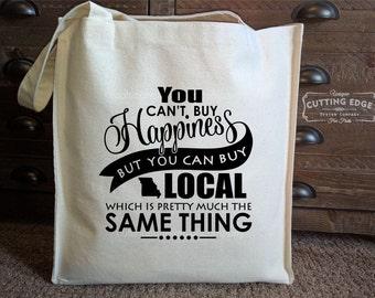 You Can't Buy Happiness But You Can Buy Local Missouri Cotton Canvas Market Tote Bag | Kansas City Bag | City Market Bag | Shop Local KC Bag