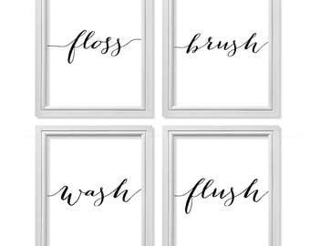 Bathroom Art, Floss, Brush, Wash, Flush Print, Motivational Art, Inspiring Words, Motivate Print, Home Rules, Bathroom Rules, Hygiene Art