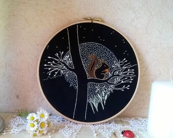 embroidery hoop wall art - little squirrel  -  wall decor for nursery - embroidery wall art - home decor - embroidered wall hanging