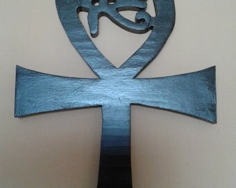 All Seeing Eye and Ankh  Wooden Symbol.   FREE SHIPPING