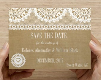 Rustic Save the Dates - Lace & Burlap