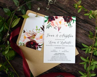 Marsala Wedding Invite, Invitation Suite, Modern Invites, Watercolor Bohemian Wedding Invite Set