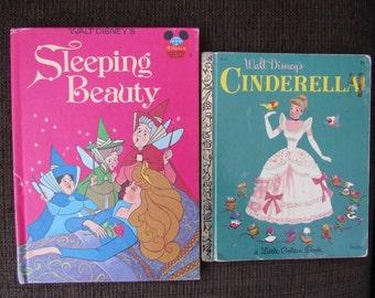 Lot of 2 Vintage Disney Books Cinderella Sleeping Beauty Free Shipping