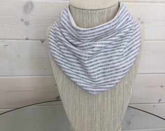 Baby Bib - Drool Bib - Organic Cotton/Bamboo Terry - white & navy mini stripe