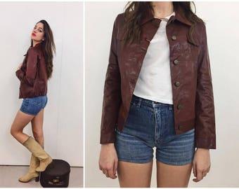70s Moto leather jacket / Biker 70s suede jacket / Trendy Cropped leather jacket  / Cropped Jacket Leather blazer / Woman Jacket size small