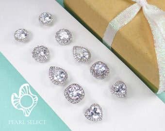 Bridesmaids Earrings,Personalized Bridesmaids Gift,Cubic Zirconia earrings,Crystal Stud Earrings,Bridesmaids Gifts