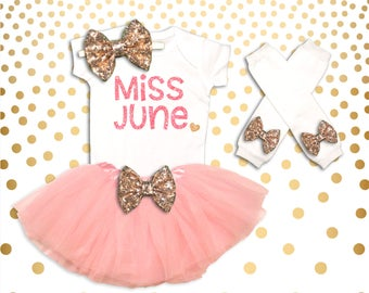 Baby Girl Clothes Miss June Birthday Bodysuit, Baby girl Birthday Outfit, Baby Girl Clothes, Miss Month Birthday Tutu,Coming Home Outfit