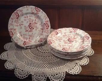 "Vintage, Meakin, Heirloom, 7"" bread / salad plate,  Staffordshire, England, pink/ red transferware, mismatch"