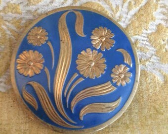 Blue enameled compact