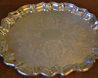 Vintage English silver plated large tray/ vintage silver tray/ English tray/ silver plated tray/ an.1129