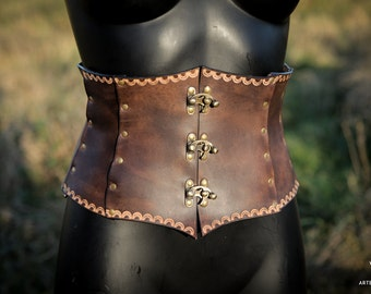 Leather waist cincher dark brown medieval corset closed by hooks