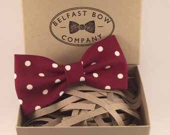 Handmade Spotted Bowtie in Burgundy Red - Adults & Boy's sizes Available